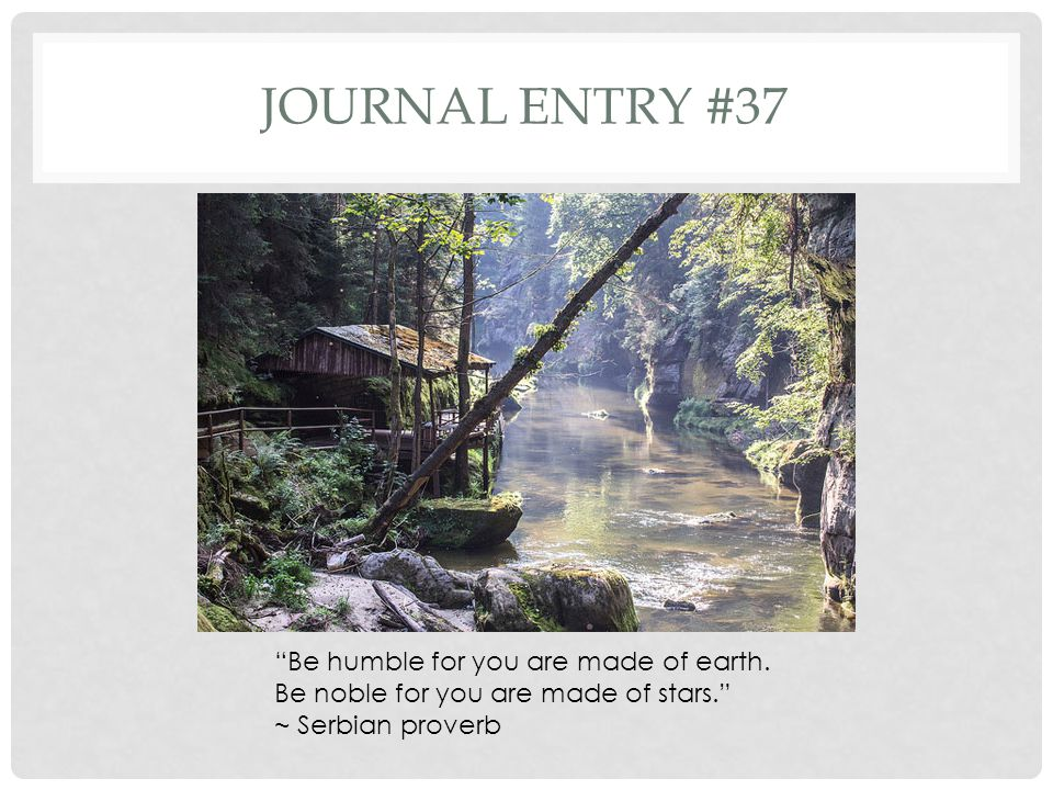Journal entry #37 Be humble for you are made of earth.