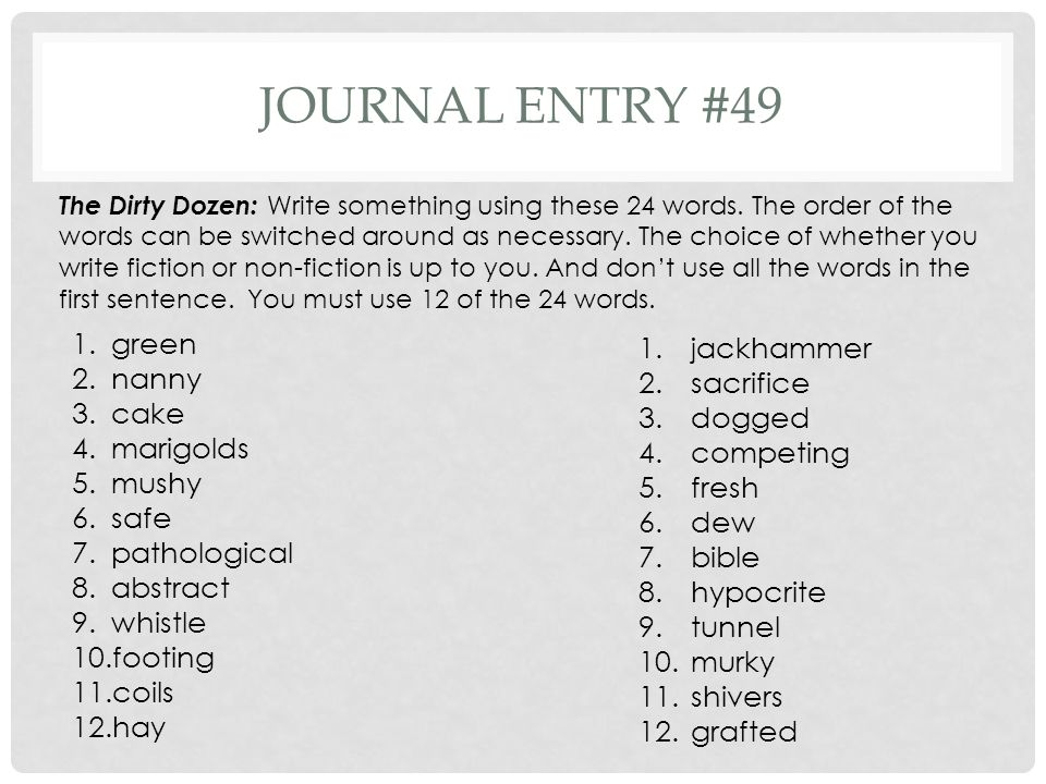 Journal entry #49 green jackhammer nanny sacrifice cake dogged
