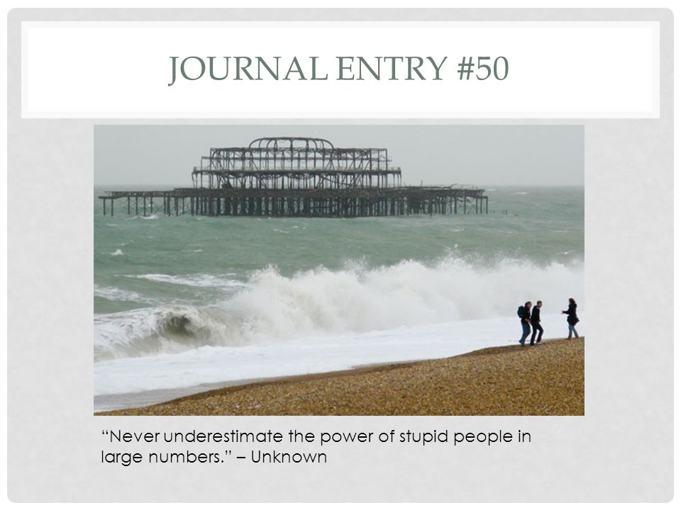 Journal entry #50 Never underestimate the power of stupid people in large numbers. – Unknown