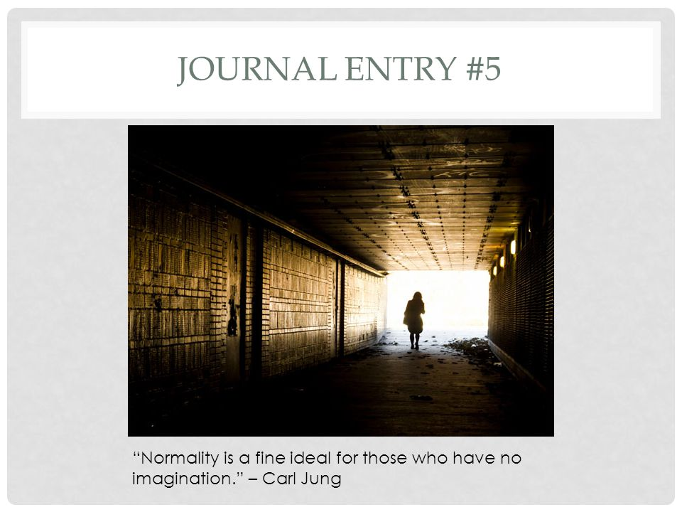 Journal entry #5 Normality is a fine ideal for those who have no imagination. – Carl Jung