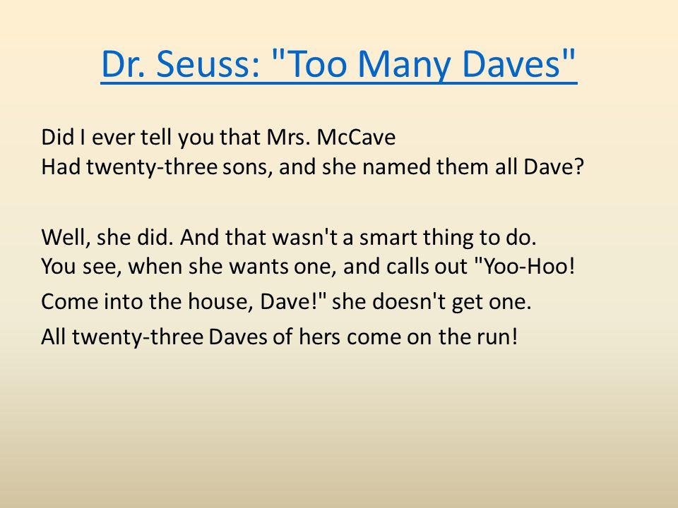 Dr. Seuss: Too Many Daves