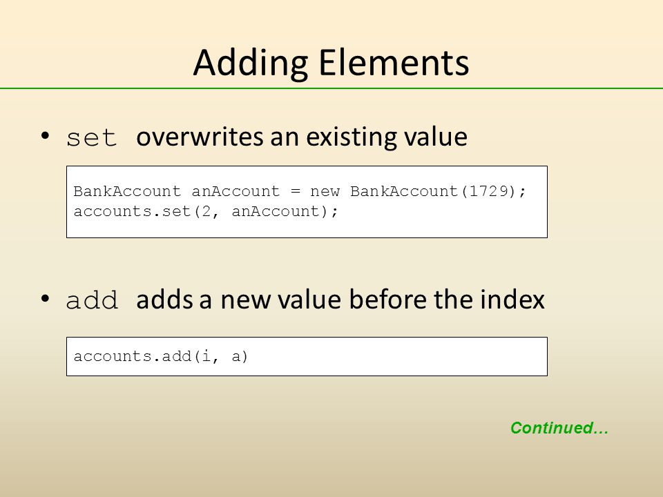 Adding Elements set overwrites an existing value