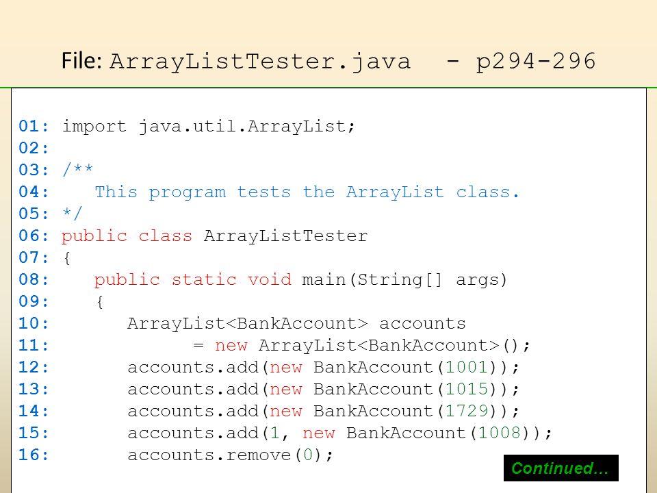 File: ArrayListTester.java - p294-296