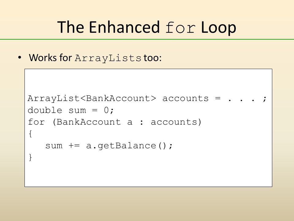 The Enhanced for Loop Works for ArrayLists too: