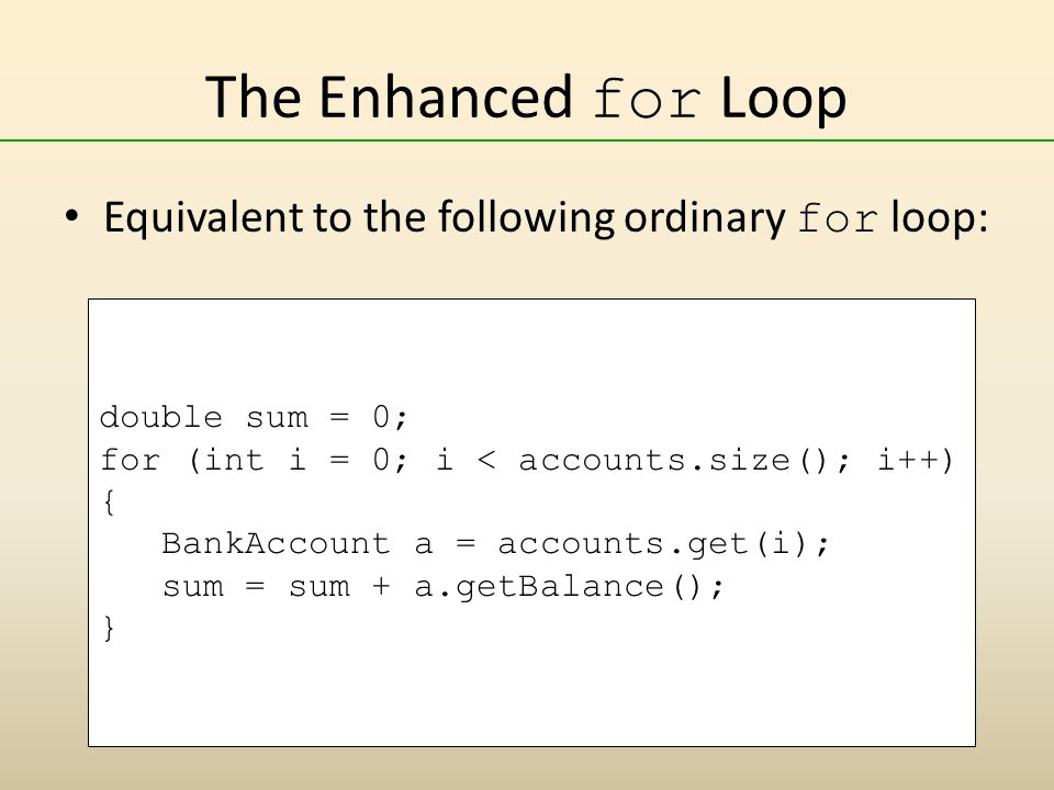 The Enhanced for Loop Equivalent to the following ordinary for loop:
