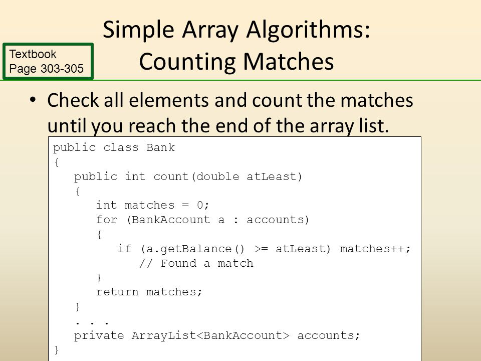 Simple Array Algorithms: Counting Matches