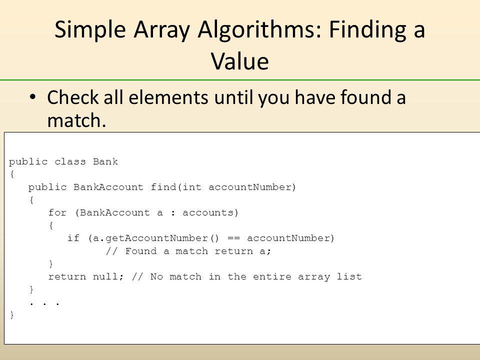 Simple Array Algorithms: Finding a Value
