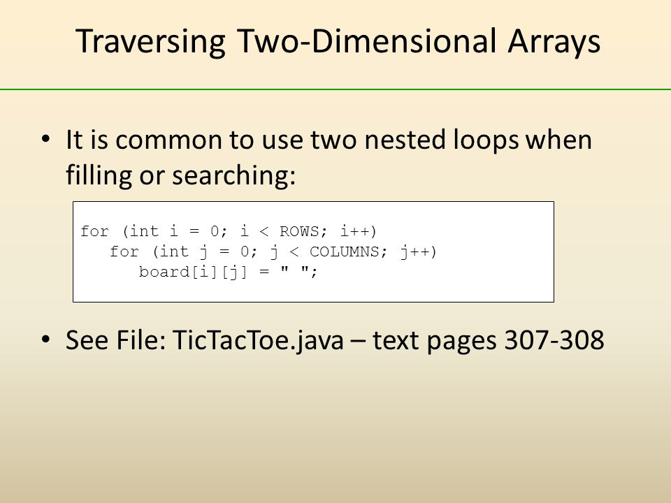 Traversing Two-Dimensional Arrays