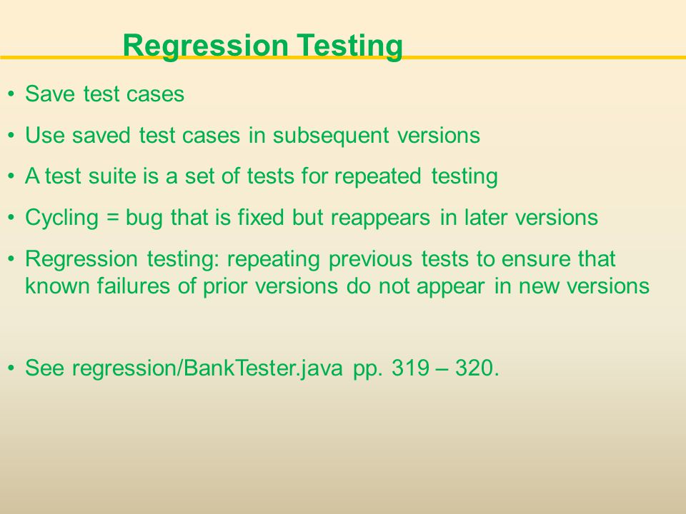 Regression Testing Save test cases