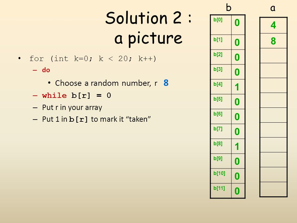 Solution 2 : a picture b a 1 4 8 Choose a random number, r 8