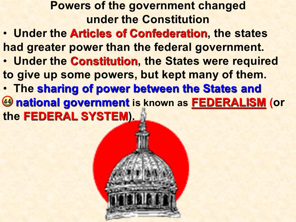 Powers of the government changed under the Constitution