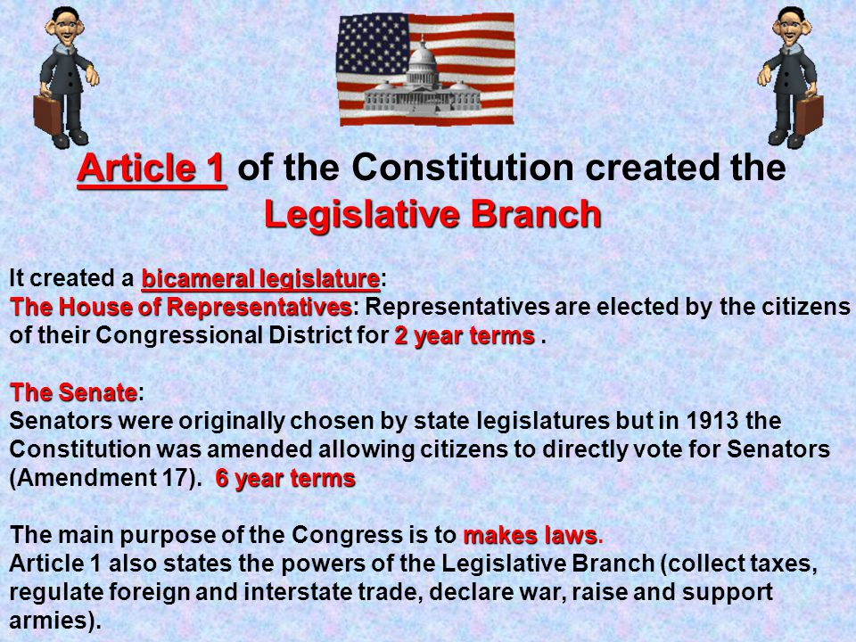 Article 1 of the Constitution created the Legislative Branch