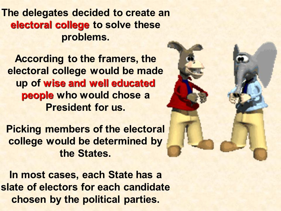 The delegates decided to create an electoral college to solve these problems.