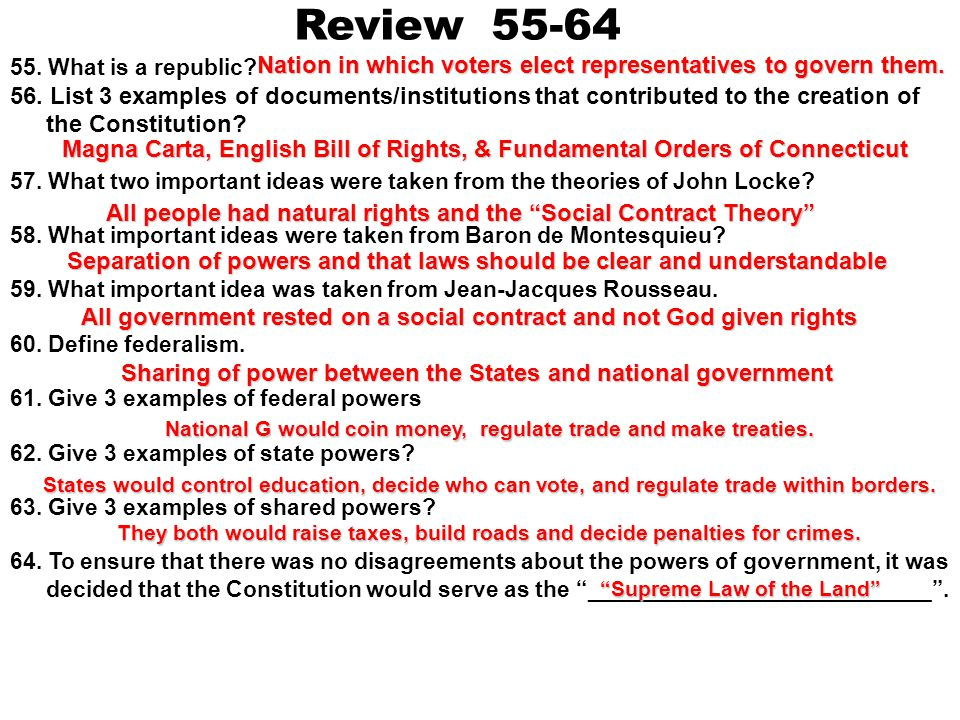 Review 55-64 55. What is a republic 56. List 3 examples of documents/institutions that contributed to the creation of the Constitution
