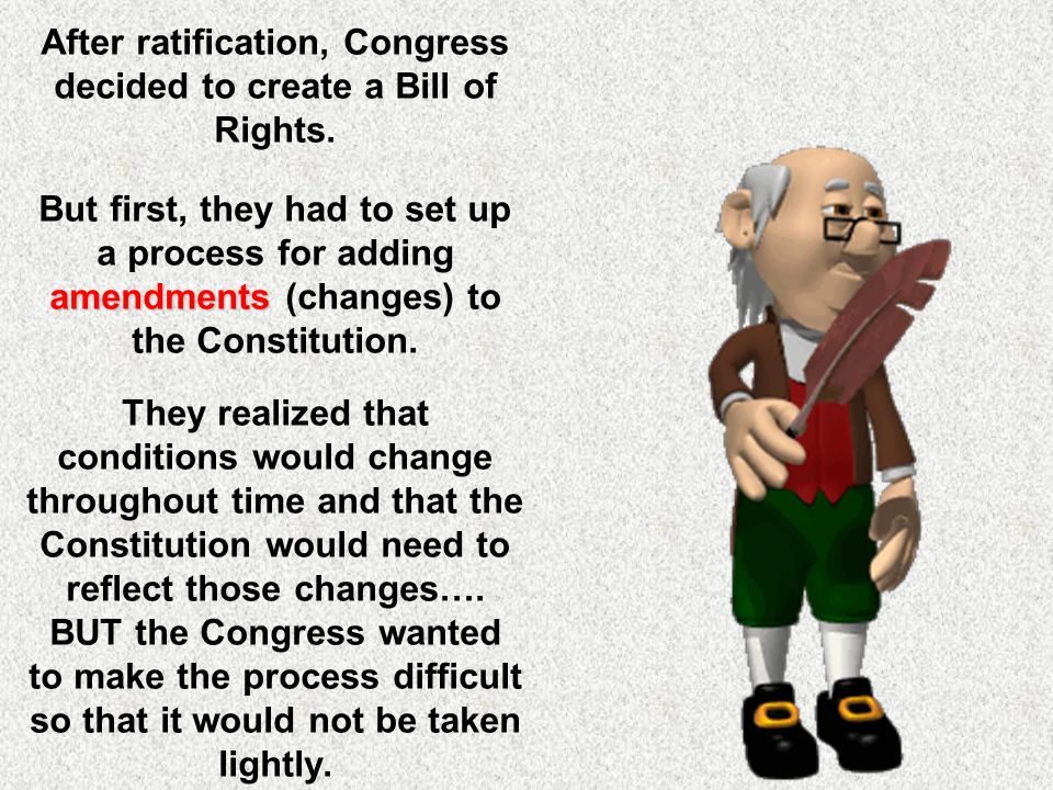 After ratification, Congress decided to create a Bill of Rights.