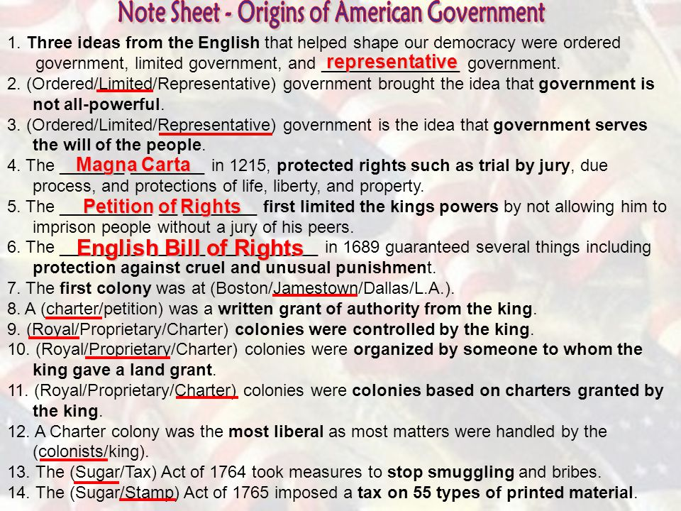 Note Sheet - Origins of American Government