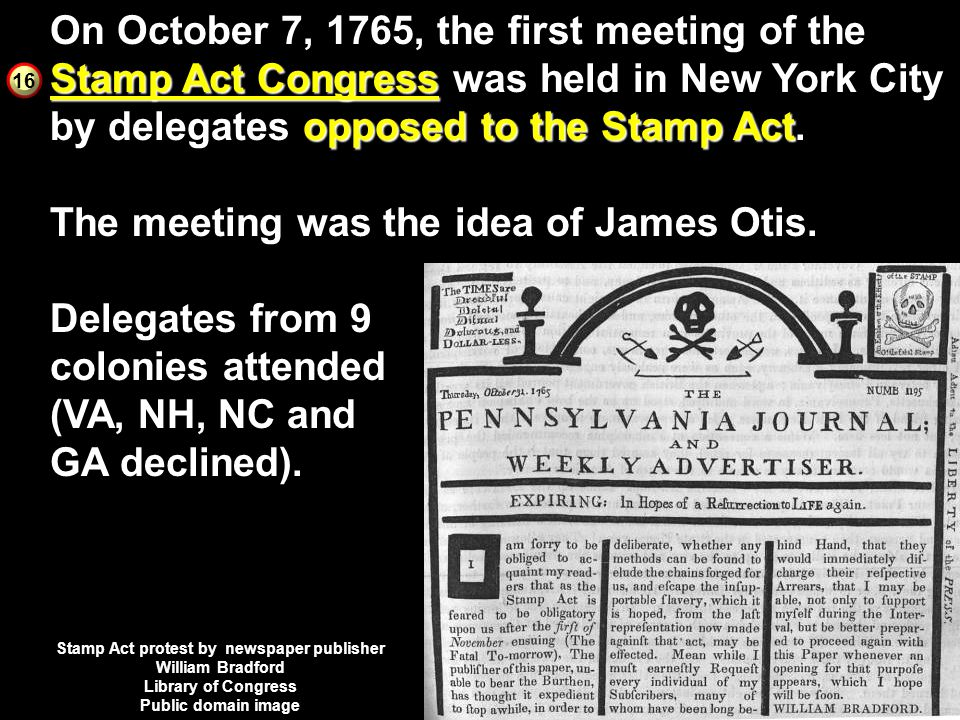 Stamp Act protest by newspaper publisher