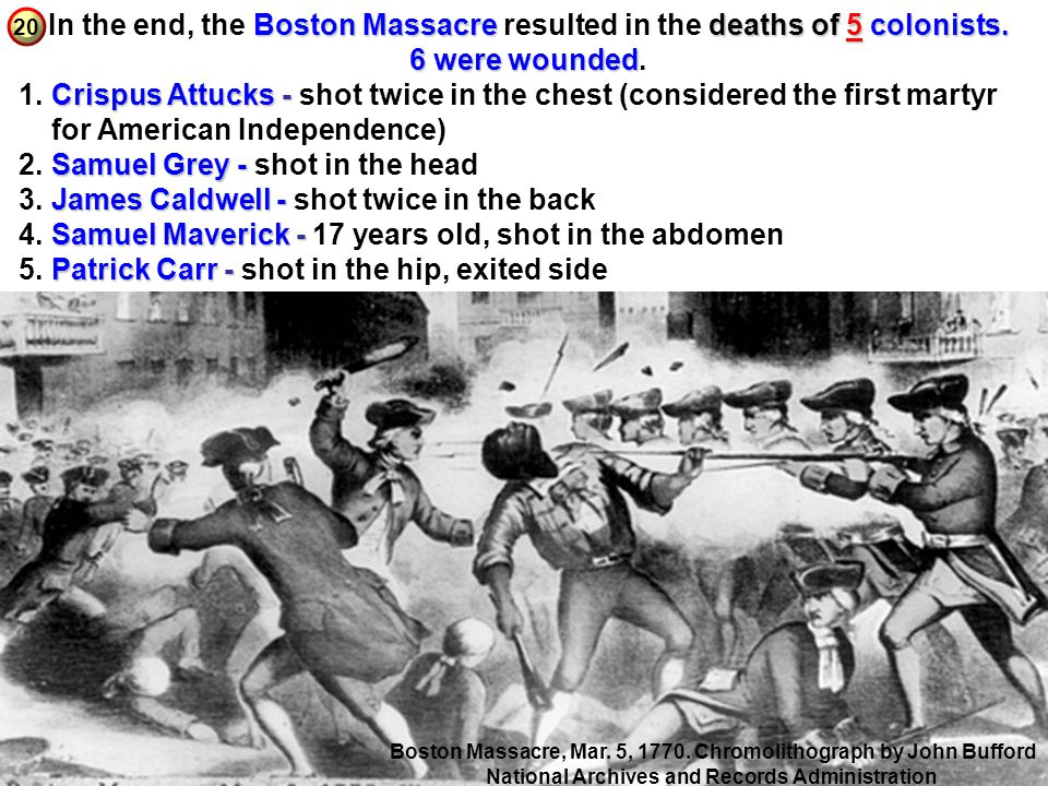 for American Independence) 2. Samuel Grey - shot in the head