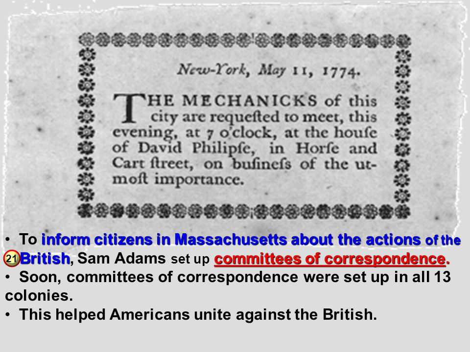 To inform citizens in Massachusetts about the actions of the