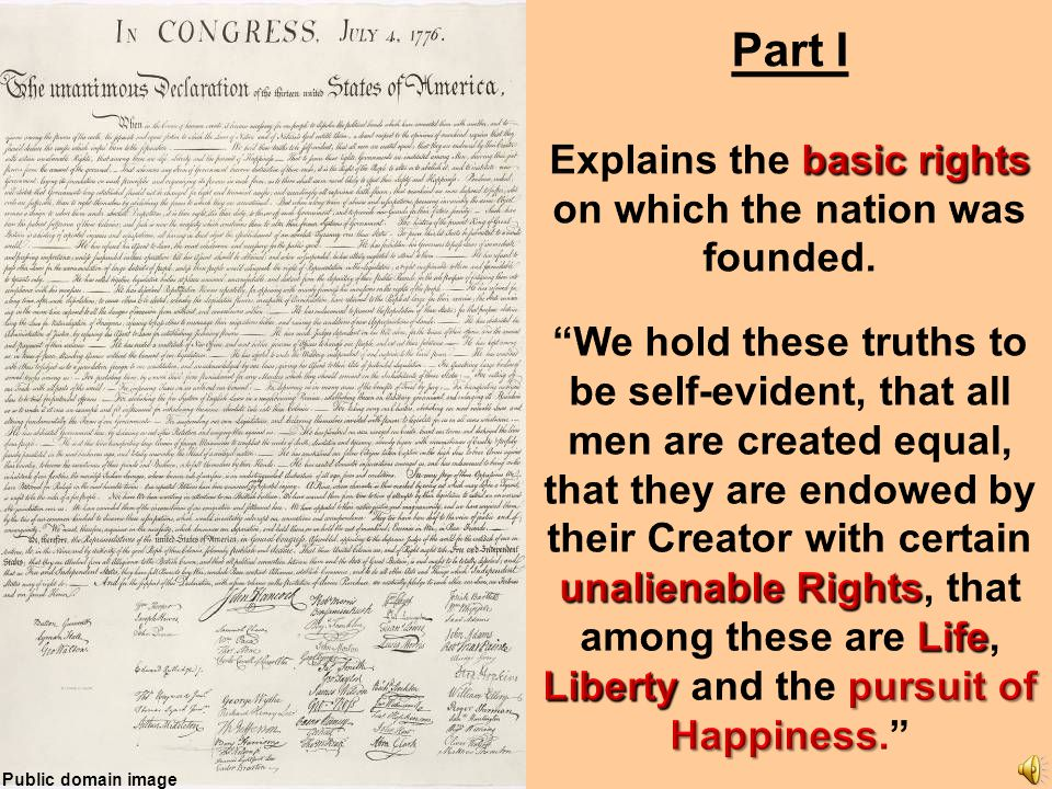 Explains the basic rights on which the nation was founded.