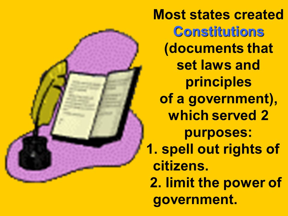 Most states created Constitutions. (documents that. set laws and. principles. of a government),