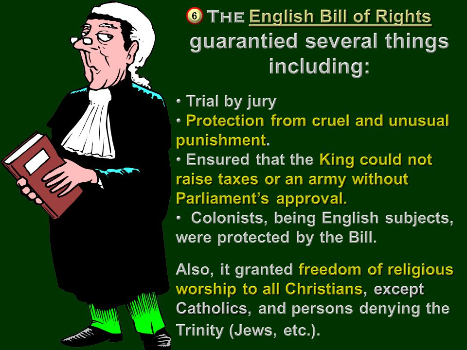 The English Bill of Rights guarantied several things including: