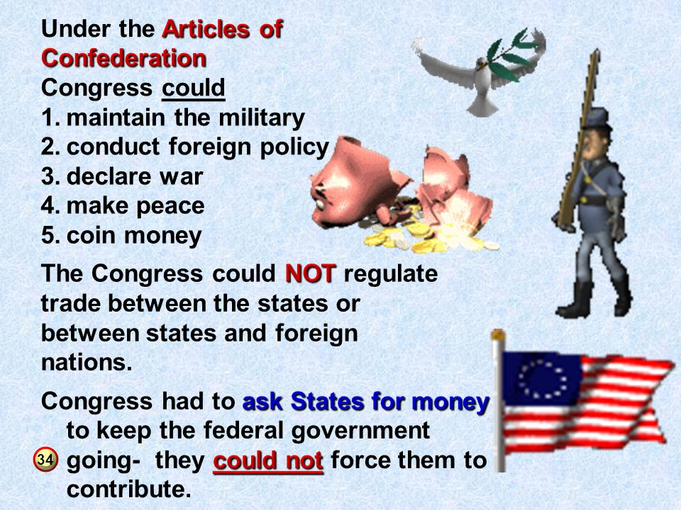 conduct foreign policy declare war make peace coin money
