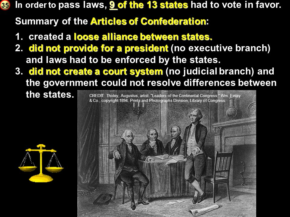 In order to pass laws, 9 of the 13 states had to vote in favor.