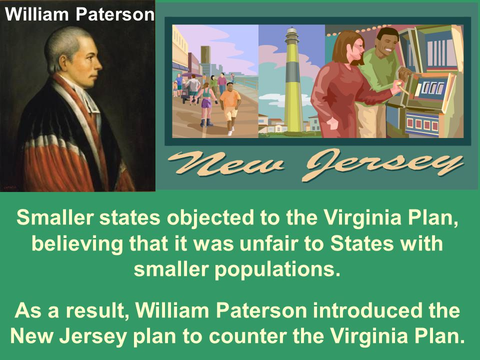 William Paterson Smaller states objected to the Virginia Plan, believing that it was unfair to States with smaller populations.