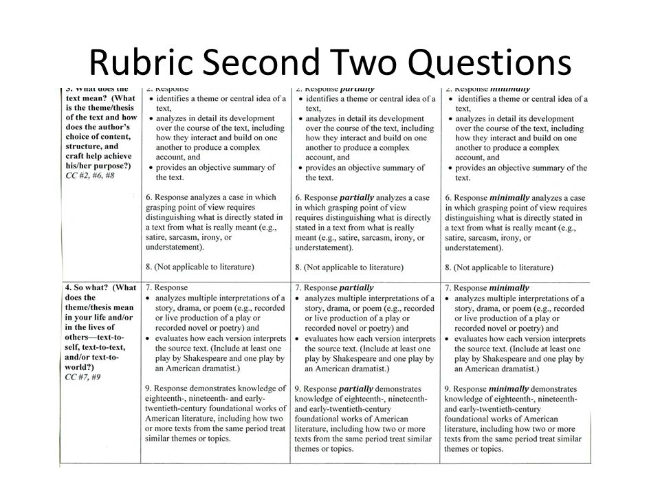 Rubric Second Two Questions
