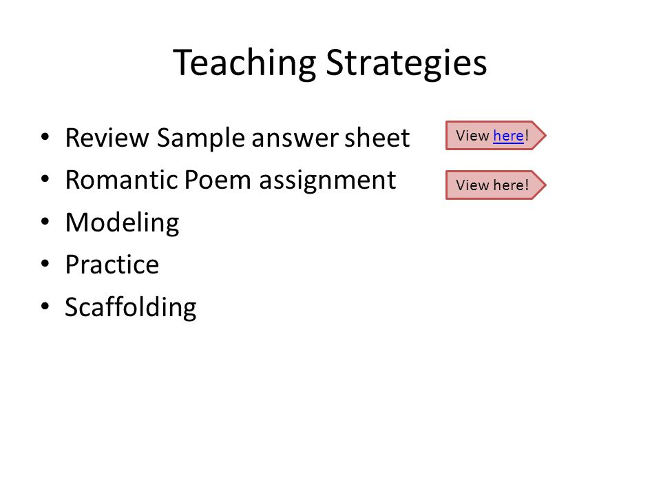 Teaching Strategies Review Sample answer sheet