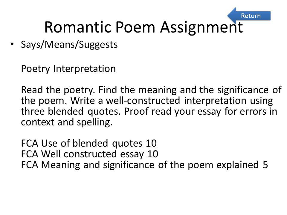 Romantic Poem Assignment