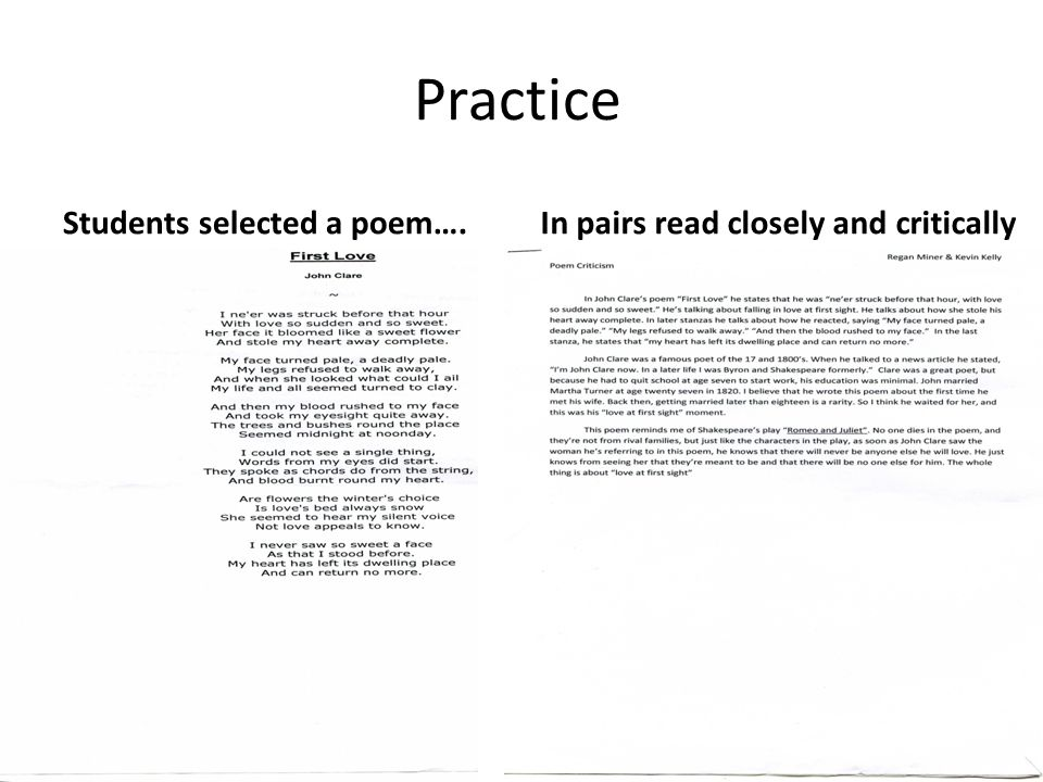 Practice Students selected a poem….