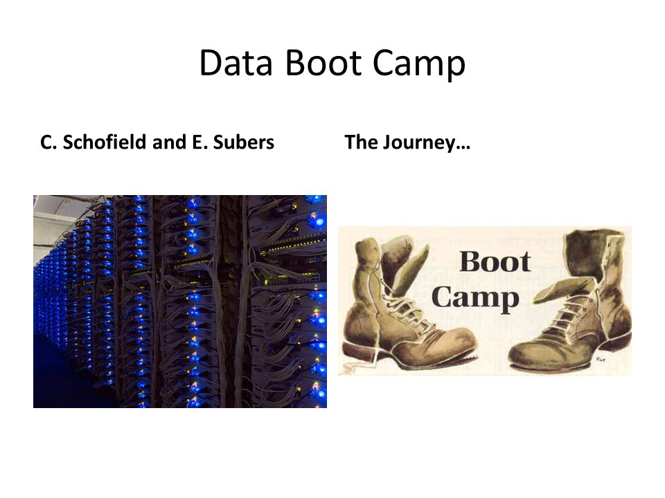 Data Boot Camp C. Schofield and E. Subers The Journey…