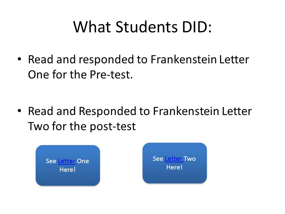 What Students DID: Read and responded to Frankenstein Letter One for the Pre-test. Read and Responded to Frankenstein Letter Two for the post-test.
