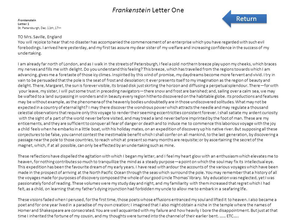 Frankenstein Letter One