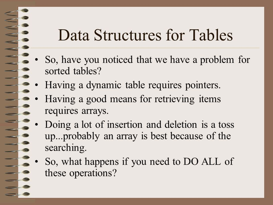 Data Structures for Tables