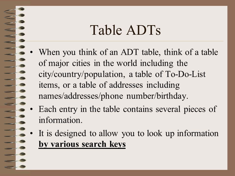 Table ADTs