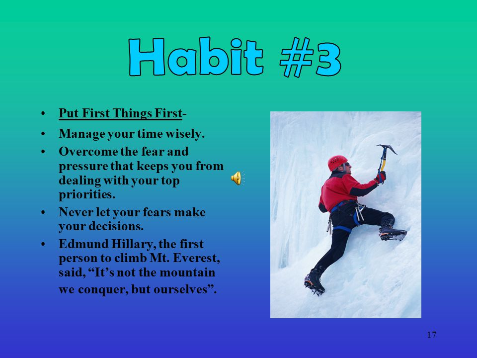 Habit #3 Put First Things First- Manage your time wisely.