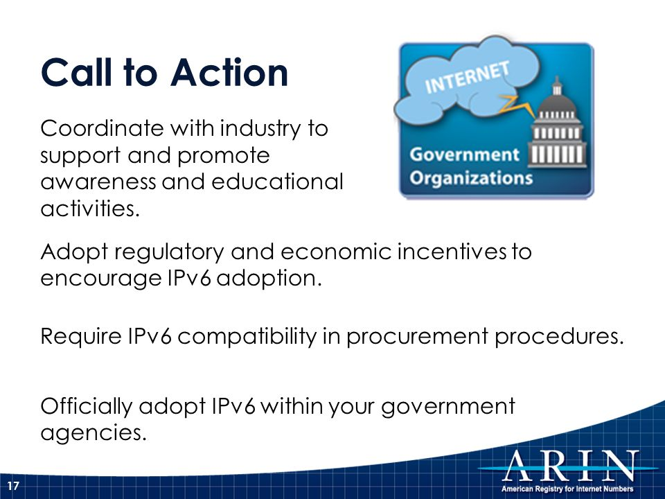Call to ActionCoordinate with industry to support and promote awareness and educational activities.