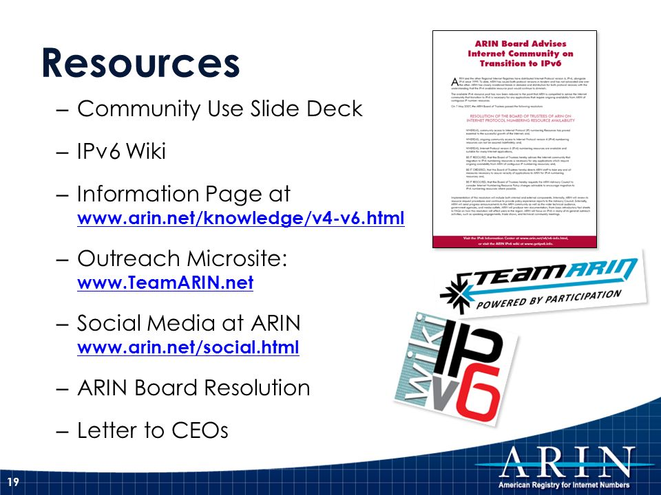 Resources Community Use Slide Deck IPv6 Wiki