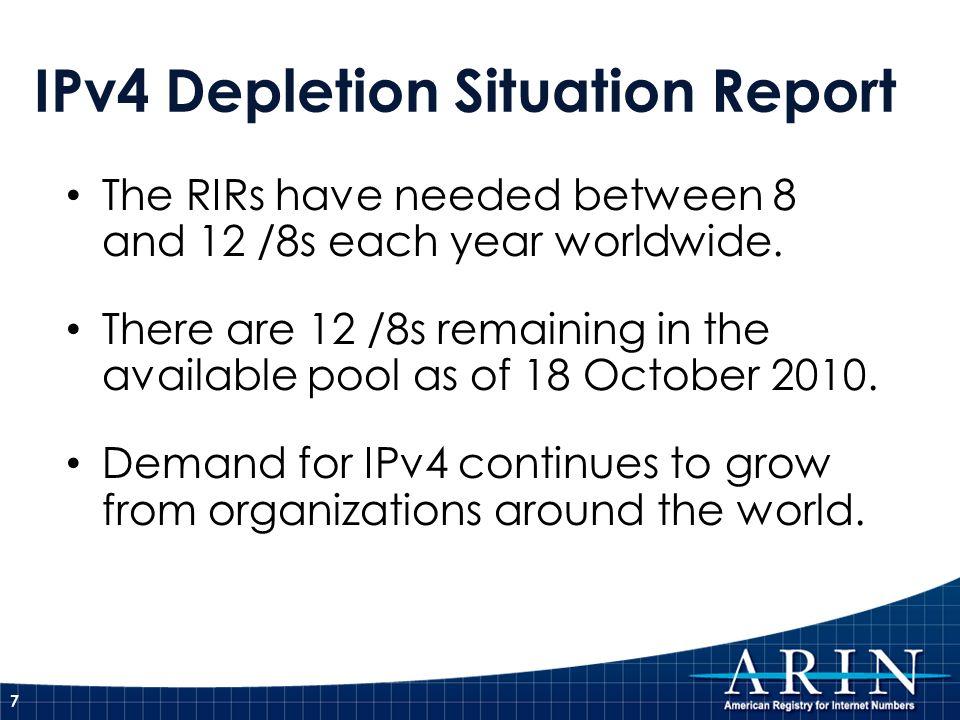 IPv4 Depletion Situation Report