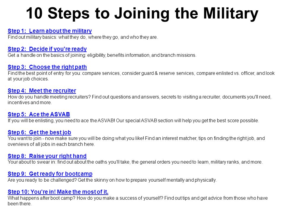 10 Steps to Joining the Military