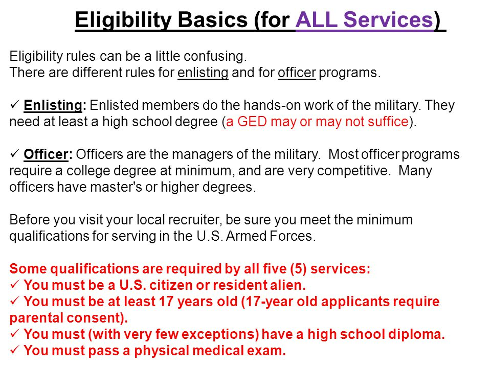 Eligibility Basics (for ALL Services)