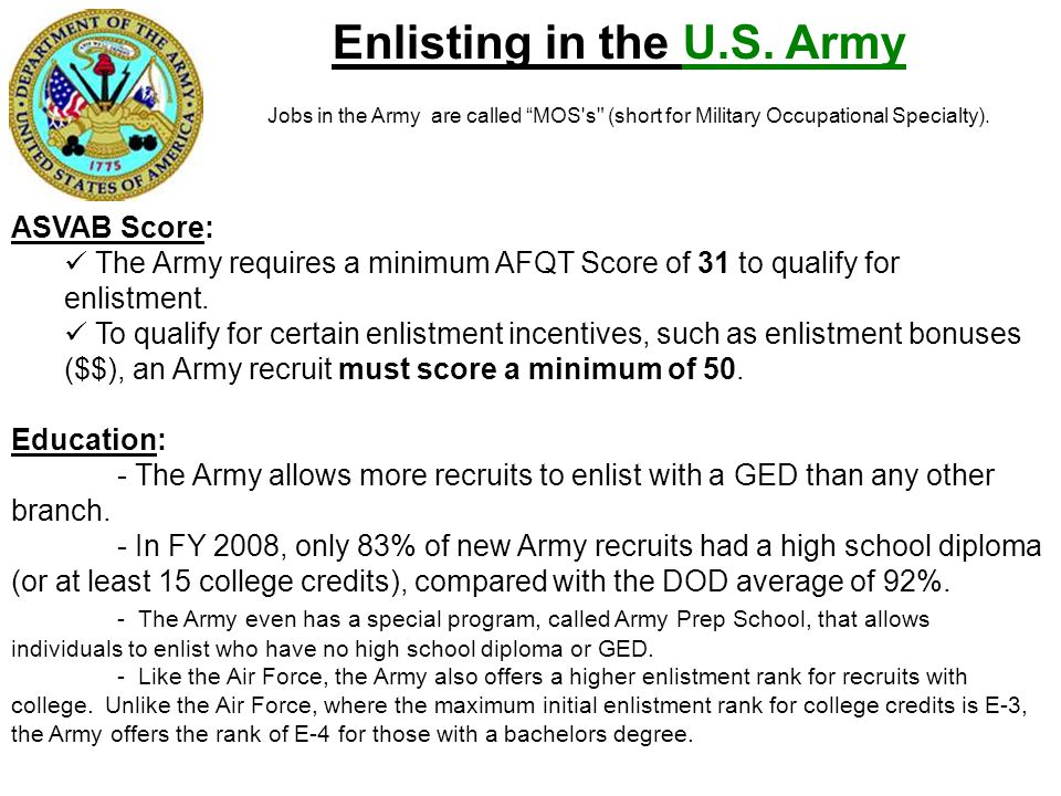 Enlisting in the U.S. Army