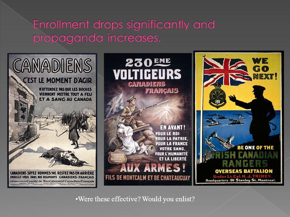 Enrollment drops significantly and propaganda increases.