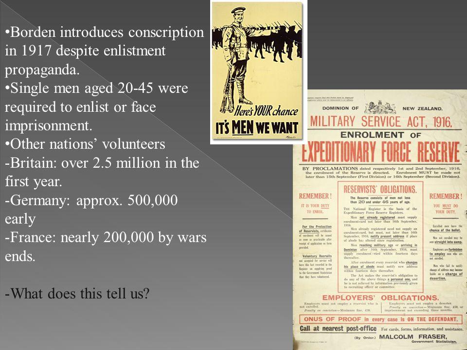 Borden introduces conscription in 1917 despite enlistment propaganda.
