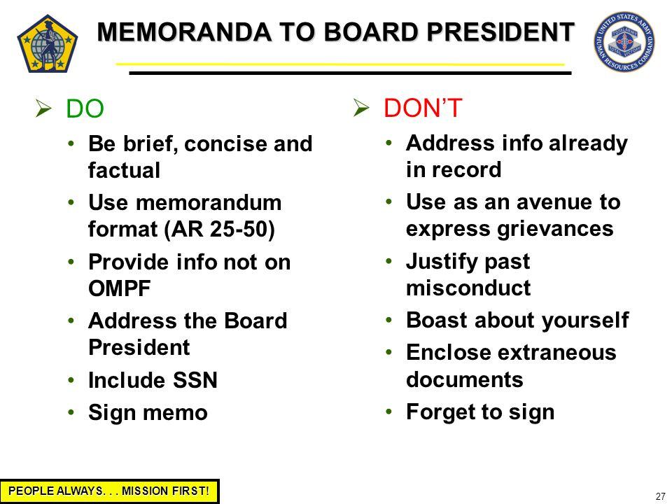 MEMORANDA TO BOARD PRESIDENT