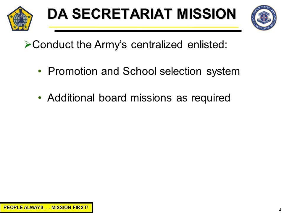 DA SECRETARIAT MISSION