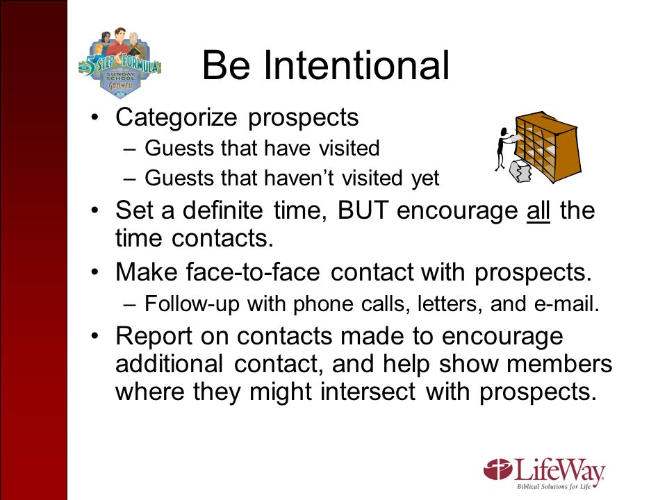 Be Intentional Categorize prospects